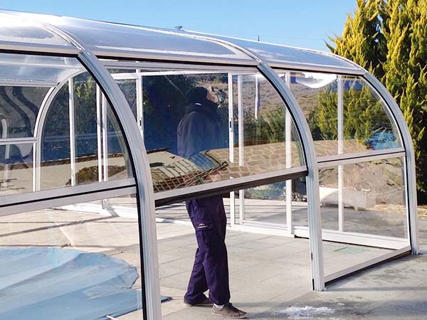 cubierta piscina fija puertas abatibles cubriland