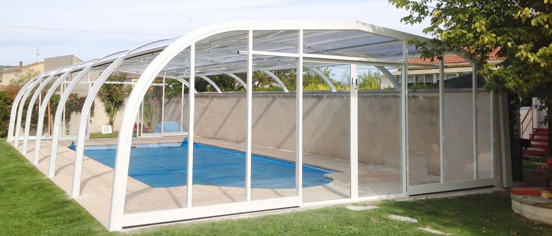 cubierta para piscina adosada a la pared cubrilan