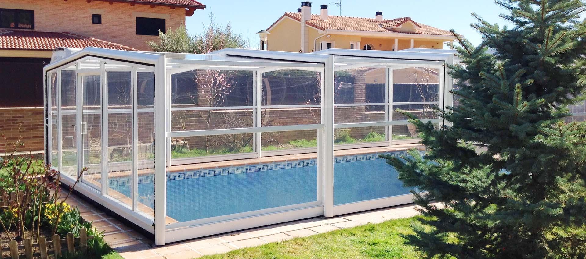 Cubierta alta telesc pica sin carriles para piscinas for Cubierta piscina desmontable