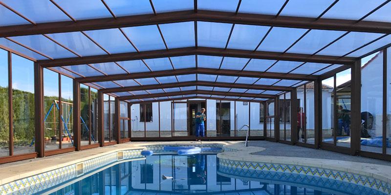 cubierta para piscina alta sin carriles