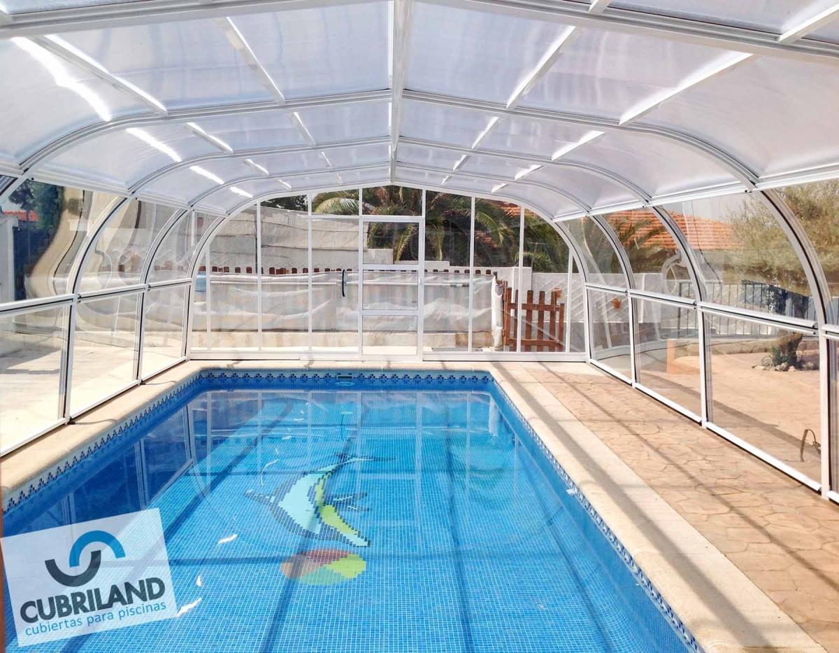 Cubierta alta fija de puertas elavables para piscinas cubriland - Piscinas altas ...