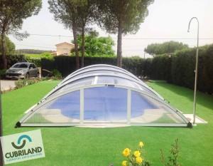 Cubierta baja telesc pica sin carriles para piscinas for Piscinas cubiertas malaga